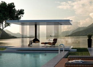 minimal glass pool house