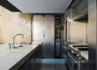 Chrome and stainless steel industrial kitchen design